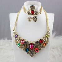 Free shipping luxury gold-plated colorful rhinestone charm drop shape Dubai Ladies wedding party jewelry sets necklace earrings