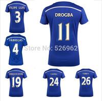 Free Ship14 15 Soccer Short Sleeve Chelsea Women's Blue Home Kit Drogba Terry Hazard Diego Costa Jersey Best QualityThailand