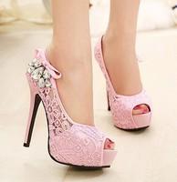 women pumps Free shipping 2014 new lace rhinestone pumps open toe female high heel thin heel wedding pumps platform women shoes