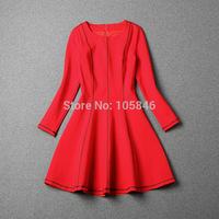 Spring Autumn Disigner Brand Women Europe High Fashion Women Vintage Roma Cotton O Neck Full Sleeve Black Red Slim Mini Dersses