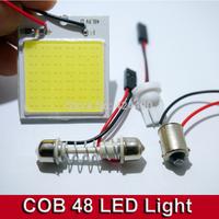 10pcs Car Vehicle LED 48 SMD COB Chip 48LED 12V DC With T10 + Festoon ba9s Socket Panel Light Interior White Bulb
