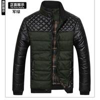 fashion elegant winter thick patchwork men jacket ,male PU leather down coat parka 13508