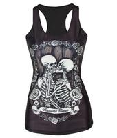 Fashion Womens T-shirt 3D Galaxy Kiss Skull Black Printed Camisole Girls Tank Tops