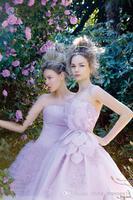 Charming 2014 New A Line Wedding Dresses Sweetheart Applique Back Zipper Sleeveless Hand Made Flowers Tiers Elegant Sweep Train