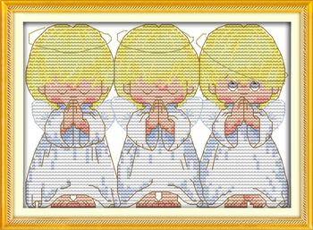 Молитесь маленькие ангелы ( 2 )! Diy 14CT счетный размеры вышивка крестом комплект для рукоделия вышивка спицы - вышивка крестом