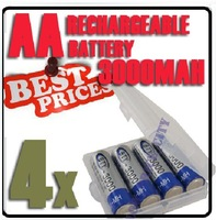 free shipping 4 X BTY Ni-MH AA 3000mAh 1.2V Rechargeable 2A Battery #26673+Retail Box