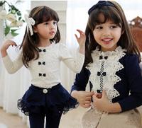5pcs/lot New Fashion Long Sleeve Ruffles Collar Lace Bow Fornt Girls T Shirt Kids Bottoming Shirt / Tops Children T Shirt