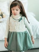 Wholesale 5sets/ lot Fashion Rose Flower Pearls Girl Vest Dress + Turtle Neck White T Shirt Children 2pcs Girl Dresses Green