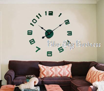 creative digital wall clock DIY wall sticker clock 12888 wall movement 21.5 cm needles min size 60*60cm 8 colors(China (Mainland))
