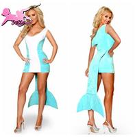 costume Sky Blue Dolphin Disfraces Halloween cosplay Aquarium Animal Women's Clothing Sexy Mermaid christmas costumes XDW009