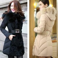 2015 Brand Fashion Women Pattern Fur Slim Women Winter Down Jacket Coat Rabbit Hooded Long Lady Thicken Parka Clothes Plus Size