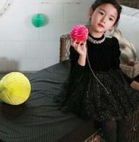 wholesale Autumn and Winter Korean Syle Fleece Pearls Velour Black Girl Dress Children Thickening Dresses Clothes
