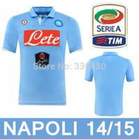 New arrival 14/15 best quality SSC NAPOLI blue HIGUAIN HAMSIK CALLEJON soccer jersey! Naples soccer jersey, euro size:S-XL