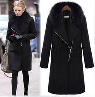 2014 New Arrival Winter Coat Women Balck Plus Size Thicken Warm Woolen Coat Jacket Winter Casual Slim Long Coat with fur Collar