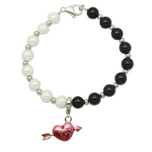 Free shipping Christmas gifts Fashion Cupid Pendant White + Black female fashion jewelry imitation pearl bracelet