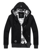 2014 New Fashion Autumn Winter Men's sports casual thick warm cotton zipper jackets coats classic color black gray Size M-XXL