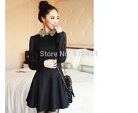 Fashion Women Dress, Chiffon A-line Knee-Length Dress, Diamonds Black Cute Dress ,Party Dress