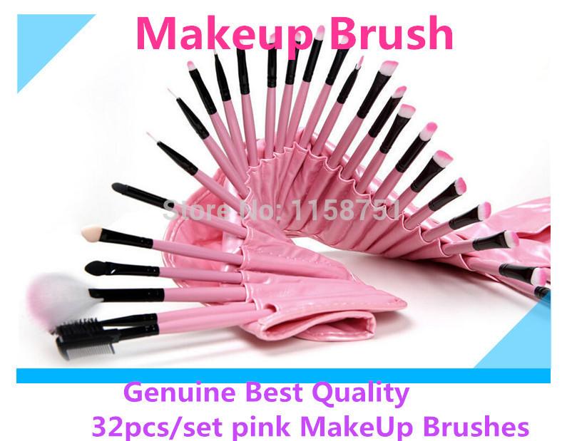 Genuine 32pcs/set pink MakeUp Brushes Set Cosmetics Tools for face eyesbrow makeup brush Pincel De Maquillaje with leather bag(China (Mainland))