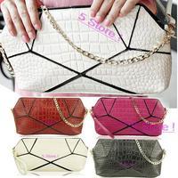 2014 Newest Korean Luxury Crocodile Pattern Genuine Leather Handbags Shoulder Lady Bags Free Shipping