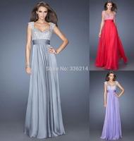 2014 New Arrival Sexy Elegant Cheap Long Cap Sleeve Chiffon Evening Dress Long Plus Size Wedding Party Prom Dresses