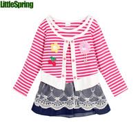 Kids Girls Dress Children's Clothing Vestidos De Menina False Two-Piece Dress Meninas Vestir  Roupa Infantil Strip Lace CW-20