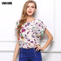 2014 New Women Tops Vitage Chiffon Shirts Plus size Bird Print Casual  shirts Short Bat sleeve blusas 19 Colors