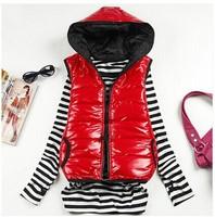 Women's autumn and winter vest  new Slim hooded cotton vest fashion glossy female models down vest women waistcoat vest