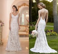 2014 New Elegant Stella York Inspired Lace Wedding Dresses 2015 Backless Trumpet/Mermaid Sweetheart Appliques Sweep Train Bridal