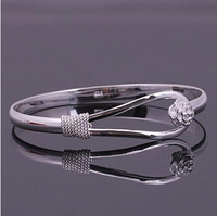 Top Quality ,Women Fashion S925 Sterling Silver Romantic Flower Female Open Adjustable Silver Bangles Free Shipping