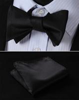 BL1002L Pure Black Solid Classic 100%Silk Jacquard Woven Men Butterfly Bow Tie BowTie Pocket Square Handkerchief Suit Set