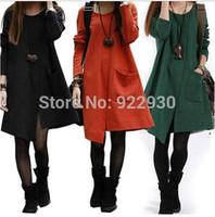 Fashion 2014 New Hot Ladies Genuine Autumn Winter Cotton Dress Long Sleeve Irregular Slit Pocket Loose Casual Dresses 3 colors