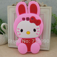 10Pcs/Lot For Samsung I9300 Galaxy S3 3D Pink Hello Kitty Rabbit Silicone Cover Back Phone Case Skin Protector Wholesale