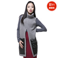 Turtleneck sweater medium-long sleeveless sweater vest large pocket sweater outerwear autumn and winter free shipping