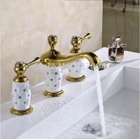 Luxury Gold Creative Design Widespread Dual Handle Basin Sink Faucet Deck Mounted Three Holes Bathroom Mixer Taps