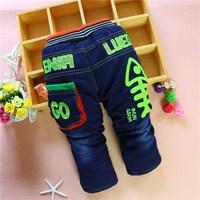 4pc/lot winter kids pants new baby jeans thicken children trousers denim factory panya dzj104