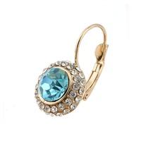 Women Gold/Silver Plated Jewelry Rhinestone Oval Stud Earrings 64143