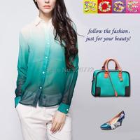2015 Female Spring New Trade Of the Original Single Temperament Soft Chiffon Shirt Women Fashion The Gradient
