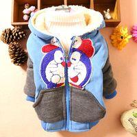 4PC/LOT boys coats cartoon winter baby outerwear Doraemon hooded children clothes velvet wholesale PANYA DZJ39