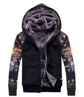 2014 New Stylish Autumn Winter Men's hooded Jackers Casual cool skull star print design thick warm zipper baseball jackets coats