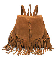 New Arrival Suede Pu Leather Tassel Backpack Vintage Drawstring Retro Fringed Shoulder Rucksack 2 Colors Available Casual bags
