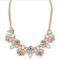 Charm Shourouk Gold Crystal Gem Collar Chain Choker Statement Necklaces & Pendants New 2014 Fashion Jewelry Women Wholesale N193