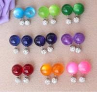Personalized Opal Earrings Rhinestone Ball Head Earring Double Pearl Bubble Earring