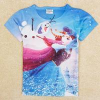 Kids Girls Frozen T-Shirt Olaf & Anna Pattern Cartoon Child Girl's Fashion reine des neiges Ropa Nino Disfraz Frozen CW-20