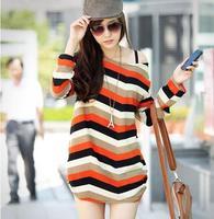 New 2014 Pregnant Women Fashion Long Sleeve Basic Tops/Tees Maternity Long Loose Wave Stripe Pattern Batwing T-Shirt FF316