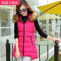 2014 medium-long fashion vest down coat cotton-padded jacket women's wool collar slim elegant