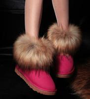 fashion new 2014 winters short boots  women's warm  short  boots inside velvet fauxe fox fur