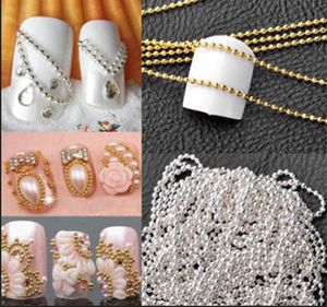 Hot Women 1m Nail Art Tips 3D Stickers Metal Glitter Striping Ball Beads Chain Decorations For Sale(China (Mainland))