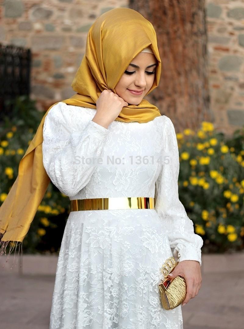 2015 New Arrival Lace Muslim Wedding Dress White Long Sleeve Kaftan