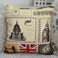 London Stytle Flag Vintage Cotton Cushion Cover Throw Pillow Case-45x45cm