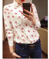 Free ShippingWestern wind luscious lips and Pakistan lipstick long sleeve chiffon shirt